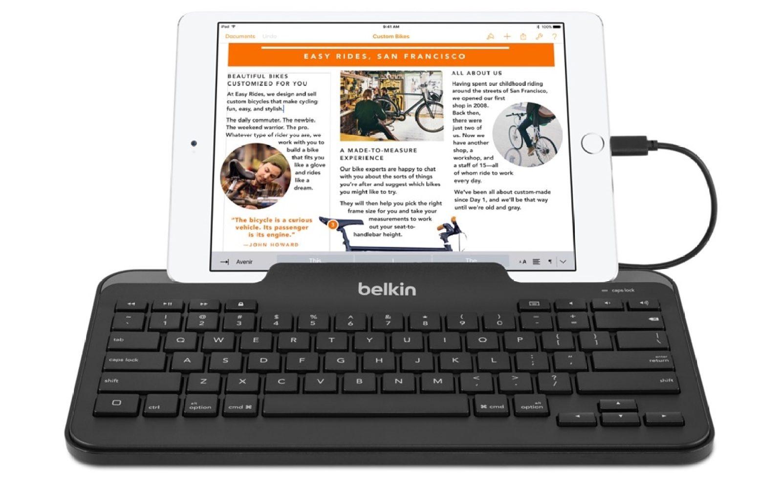 Belkin Apple-Certified MFi Lightning iPad Keyboard w/ Stand: $40 ...