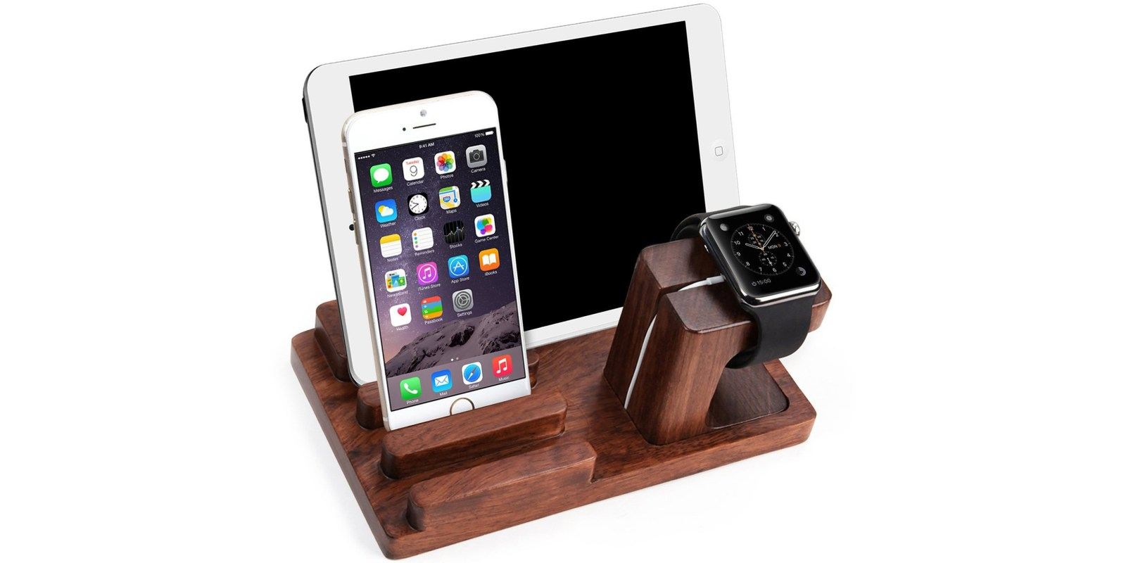 Dock your iPhone, iPad and Apple Watch with this Rosewood Desk Stand for $20 Prime shipped