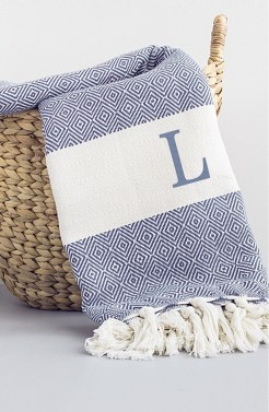 cathys concepts monogram turkish cotton throw