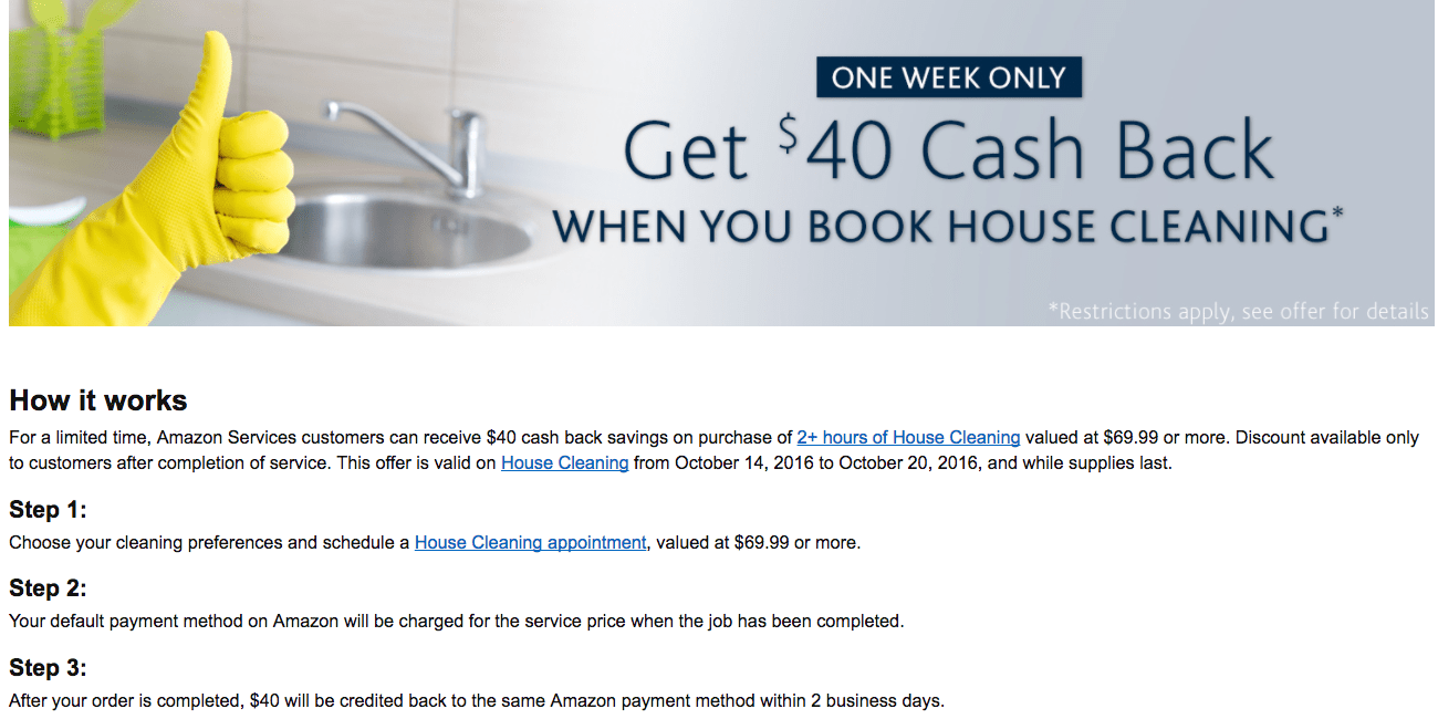 Get $40 Back When You Book 2+ Hours Of House Cleaning Services (worth At  Least $70) From Amazon
