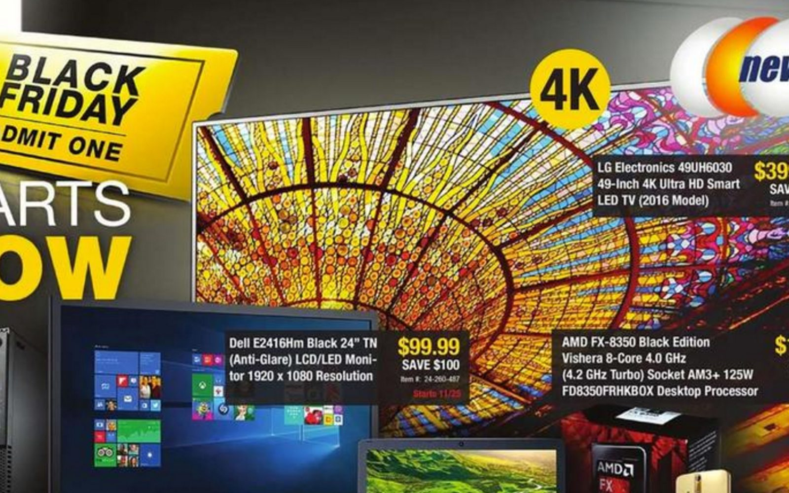 Newegg Black Friday 2016 Ad: LG 49-inch 4K Smart UHDTV $400