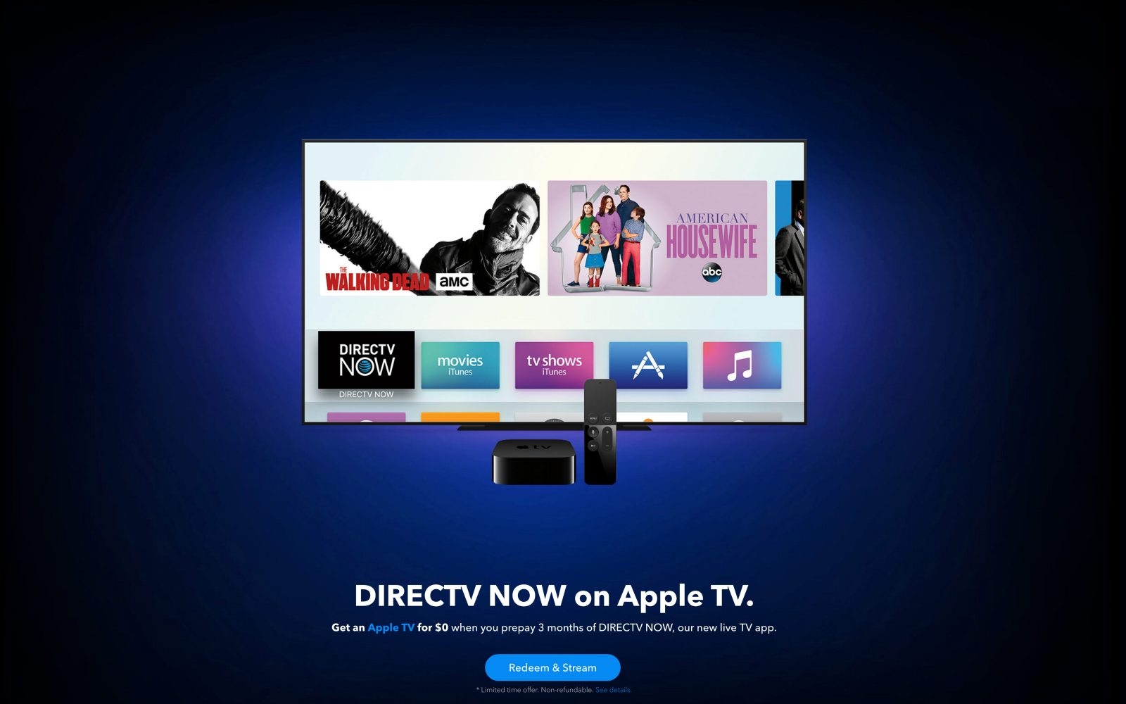 DirecTV Now launches with an aggressive free Apple TV offer when you