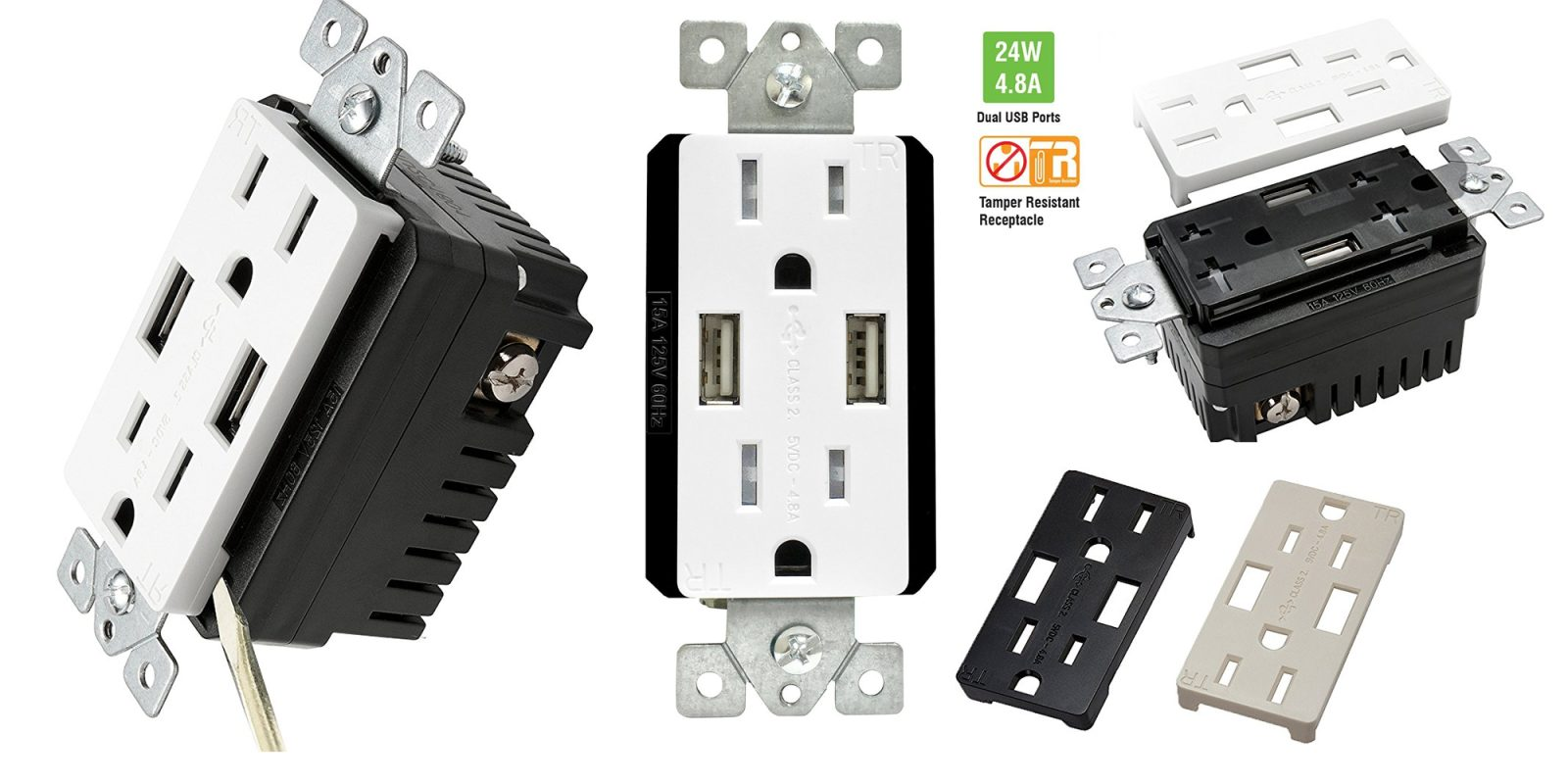 Top Greener Smart Dual-USB 15A Outlet w/ 3 face covers $16 (Reg. $23 ...