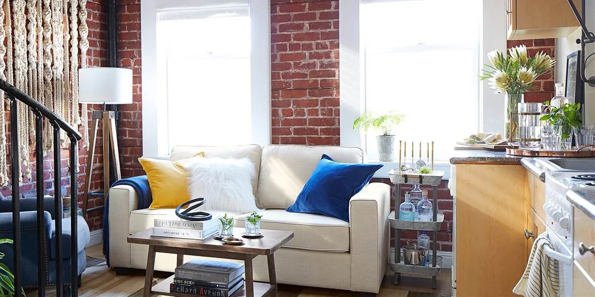pottery barn showcases a small space