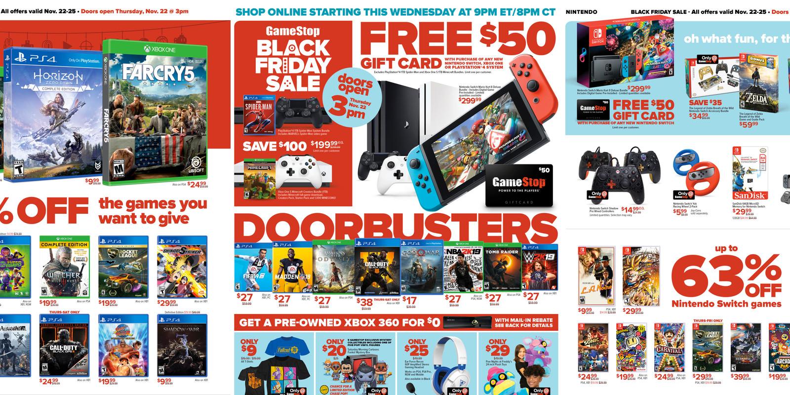 Gamestop Black Friday Ad 50 Gc W Nintendo Switch Ps4