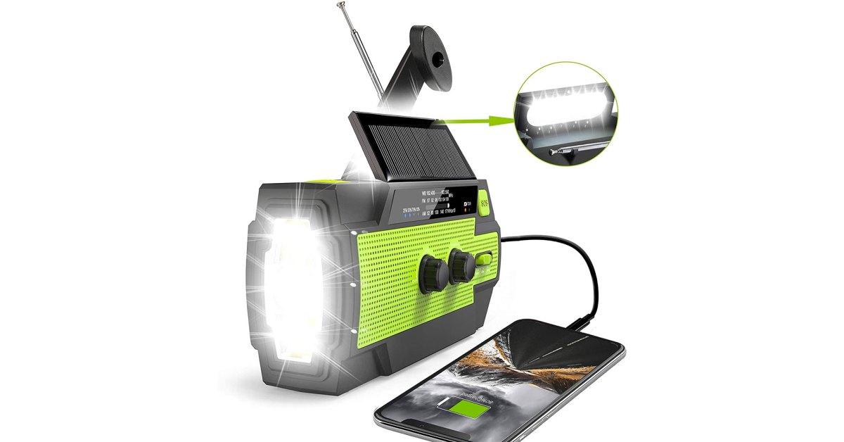 Emergency crank radio with solar panel, USB charger, NOAA radio, more at $19