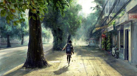 Smart Girl Hd Wallpaper Anime Girl On Streets Hd Desktop Wallpaper Background Download
