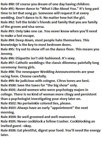 The Rules of Wedding Crashing  From Wedding Crashers   9wowin