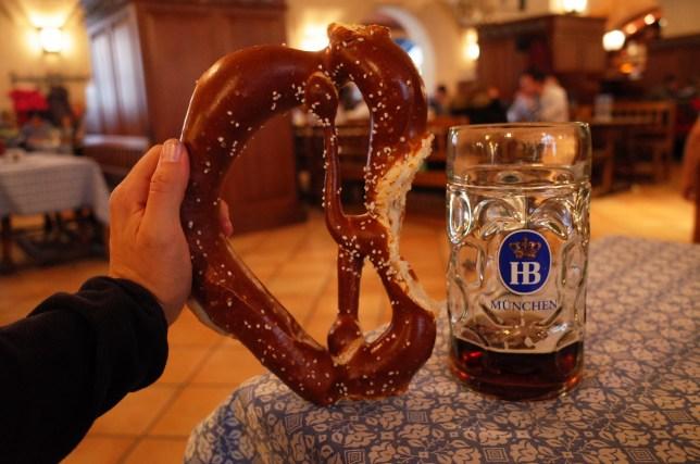 Pretzel and beer at Hofbrauhaus Munchen