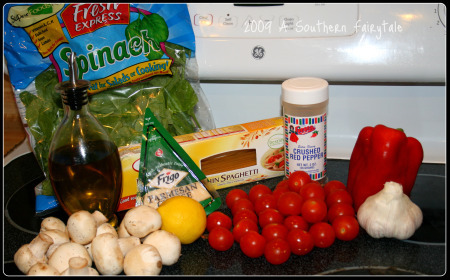 Ingredients for Garlicky Pasta