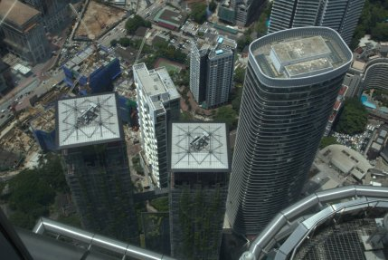 Looking down on high rises