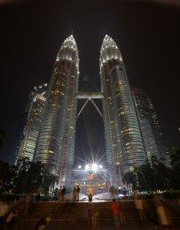 Petrona Towers at night