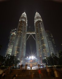 Petrona Towers at night