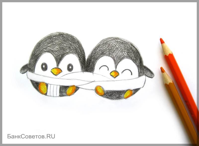 चरण संख्या 12: पेंगुइन पेंसिल कैसे आकर्षित करें