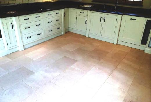 Limestone Kitchen Floor in Crookham after cleaning