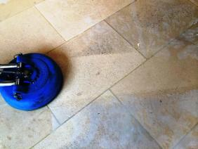 Limestone Kitchen Floor in Crookham during cleaning