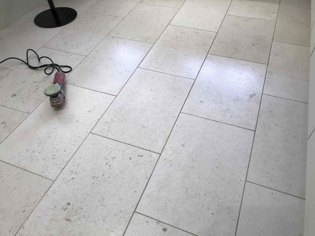 Acid Damaged Polished Limestone Floor During Restoration Wokingham