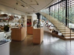 BIMA's distinctive staircase frames the gift shop, near the Bistro refreshment area.