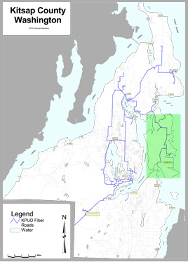 Kitsap Public Utility District (KPUD) has served the county (including Bainbridge, highlighted in green) for many years with a fiber optic internet backbone.