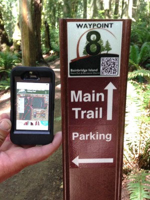 "New waypoint signage in the Grand Forest has smartphone readable ""QR codes"" linking to trail maps. So it's easier to find your way on the marked forest trails."