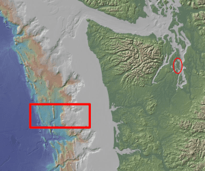 Red rectangle is the ocean area researched by Prof Johnson where 2 plates collide; red oval is Bainbridge Island