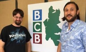BCB host Miles Schneiderman (left) and Pegasus Open Mic music host Ethan J Perry.