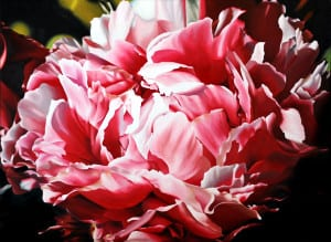 "Sharon Von Ibsch, ""Pink peony perfection,"" acrylic on canvas"