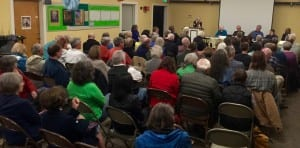 "A portion of the audience for the Oct 27 ""Faith and Climate Change"" event"