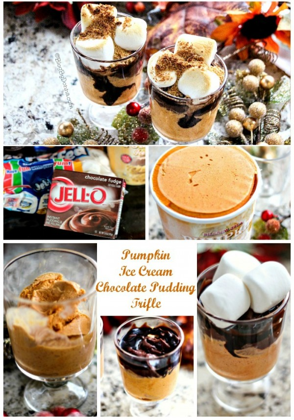 Pumpkin ice cream chocolate pudding trifle with toasted marshmallows Christmas holiday season dessert recipe...