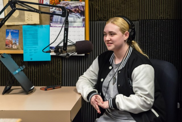 Photography by Sg Atkinson: DJ HQ, Rachel Scott, was the first of the current first year student in the Kent County High School Broadcasting Program to debut.