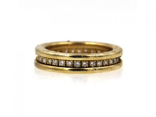 BULGARI 18K YELLOW GOLD DIAMOND BAND RING