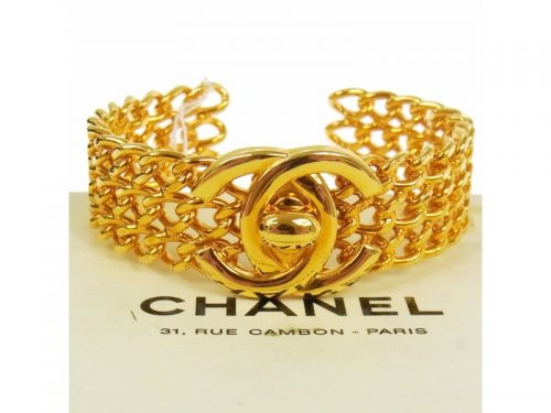 CHANEL VINTAGE CC TURNLOCK MOTIF BANGLE BRACELET