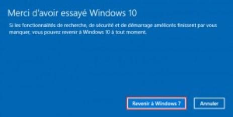 rétrogradée windows 10