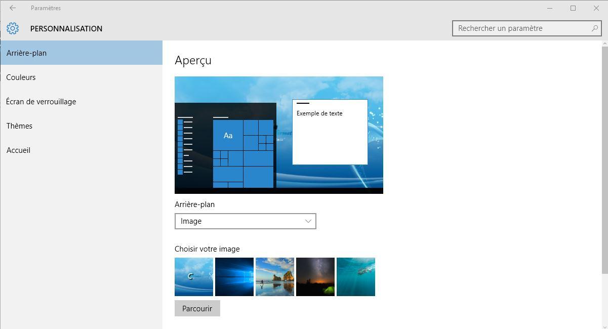 Personnaliser votre bureau windows 10 for Bureau windows