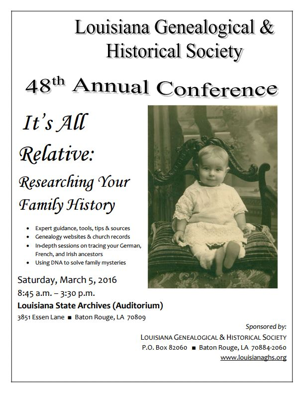 Louisiana Genealogical & Historical Society 2016 Conference