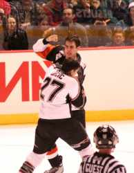 Hockey fight in Vancouver, Canada