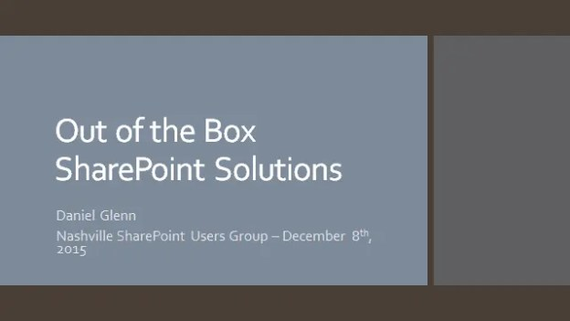 SharePoint Users Group – December 8th 2015