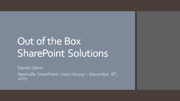 Nashville SharePoint Users Group Presentation