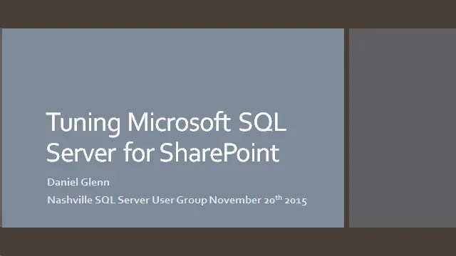 Nashville SQL Server User Group Presentation