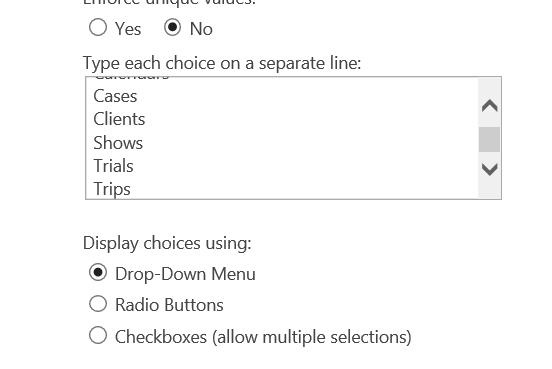 Column Choice Box