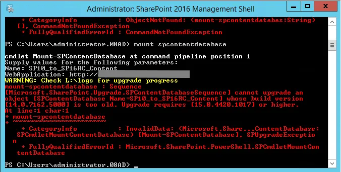 Mount-SPContentDatabase 2016 RC on SharePoint 2010 Database