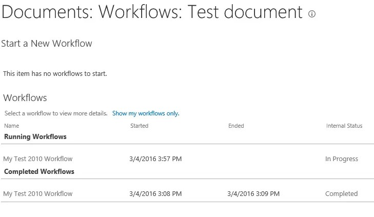 Workflow History SharePoint 2016 RC