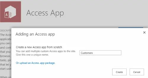Add Access App SharePoint 2016