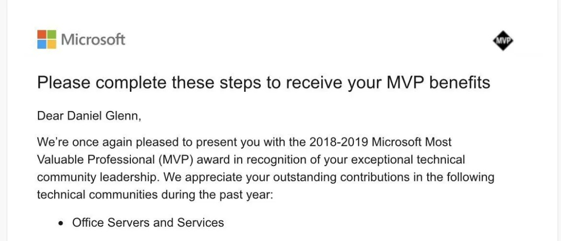 MVP Congrats email