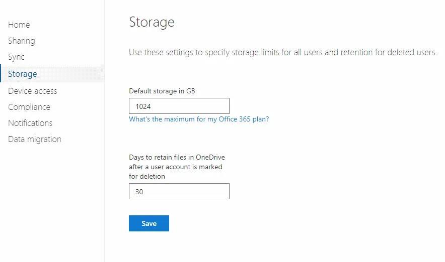 OneDrive Storage Settings