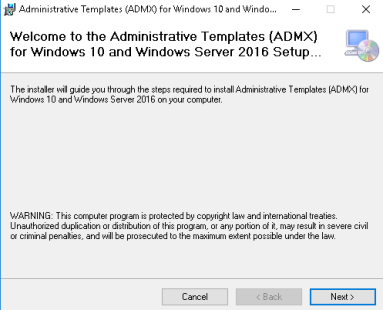Windows 10 / Server 2016 ADMX