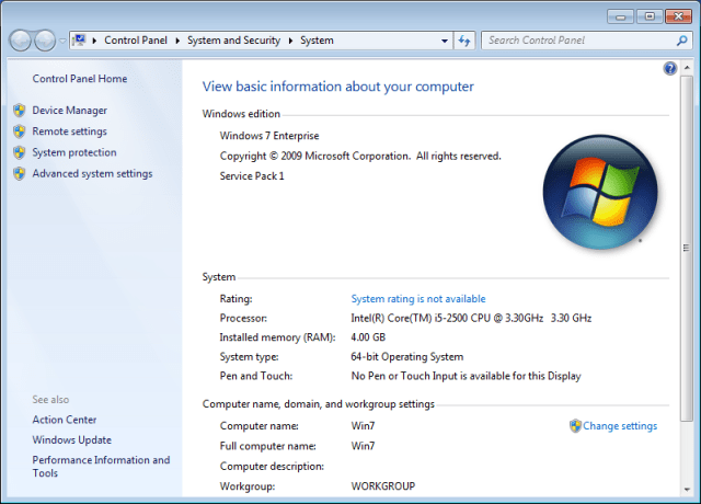 System rating is not available on Windows 7