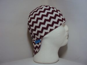 Burgundy and White Chevrons Welding Cap