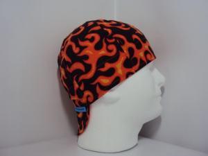 Blaze oranre Flames Welding Hat