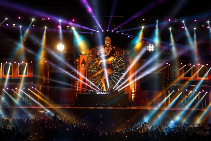 The dance temple stage at Sunburn Goa 2014